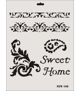 Rich New Seri N-108 Sweet Home Stencil 35x25cm