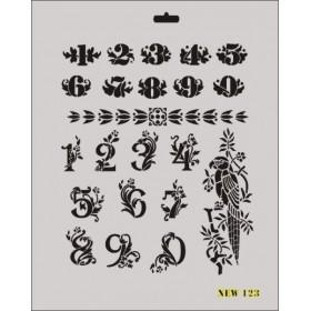 Rich New Seri N-123 Sayılar Rakamlar Stencil 35x25cm