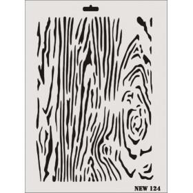 Rich New Seri N-124 Ağaç Dokusu Stencil 35x25cm