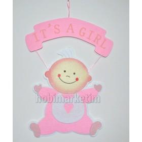 Pembe Hoşgeldin Bebek Keçe Kapı Süsü 45x30cm