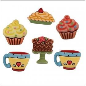 Dekoratif Düğme Cupcake & Fincan SD107