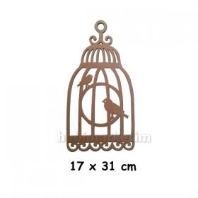 Kafeste Kuş 17x31cm Ahşap Obje