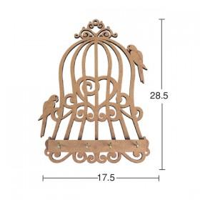 Papağan Kafes Anahtarlık Ahşap Obje