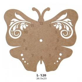 Kelebek İşleme Motifli Saat Ahşap Obje