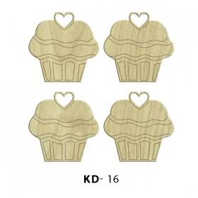 4lü Cupcake  Paket Süs Ahşap Obje KD-16