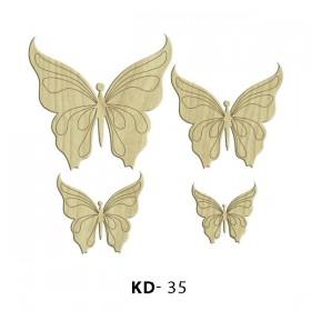 4'lü Motif Kelebek  Paket Süs Ahşap Obje KD-35