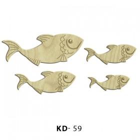 Balıklar 4'lü  Paket Süs Ahşap Obje KD-59