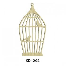 Kafeste Kuş Model-5 Paket Süs Ahşap Obje KD-202