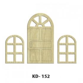 Oval Kapılı Pencere Set Paket Süs Ahşap Obje KD-152