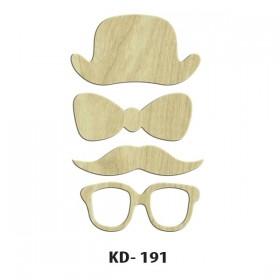 Şapka-Papayon-Bıyık-Gözlük Paket Süs Ahşap Obje KD-191