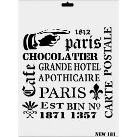 Rich New Seri N-181 Paris Yazılar Stencil 35x25cm