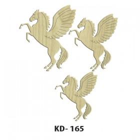 3'lü Pegasus Kanatlı At Paket Süs Ahşap Obje KD-165