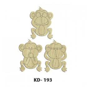3 Maymun Paket Süs Ahşap Obje KD-193