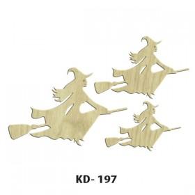 3'lü Uçan Cadılar Paket Süs Ahşap Obje KD-197