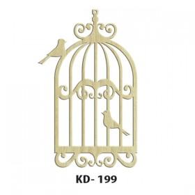 Kafeste Kuş Model-2 Paket Süs Ahşap Obje KD-199