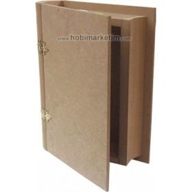 Kitap Kutu Ahşap Obje Orta 23x16x4,5cm