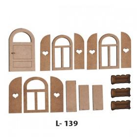 Lazer Kesim Kapı-Pencere-Saksı Seti 16 Parça