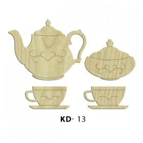 Çaydanlık Fincan Takım Paket Süs Ahşap Obje KD-13