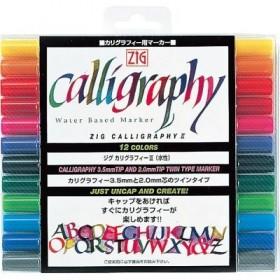 Zig Çift Uçlu Kaligrafi Kalemi 2 mm + 3,5 mm 12 Renk