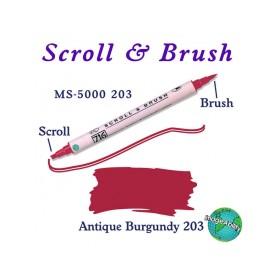 Zig Scroll & Brush Çift Çizgi ve Fırça Uçlu Kaligrafi Kalemi ANTİK BORDO
