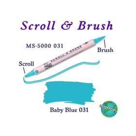 Zig Scroll & Brush Çift Çizgi ve Fırça Uçlu Kaligrafi Kalemi BEBEK MAVİ