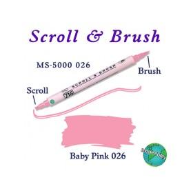 Zig Scroll & Brush Çift Çizgi ve Fırça Uçlu Kaligrafi Kalemi BEBEK PEMBE