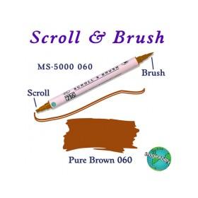 Zig Scroll & Brush Çift Çizgi ve Fırça Uçlu Kaligrafi Kalemi KAHVERENGİ