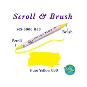 Zig Scroll & Brush Çift Çizgi ve Fırça Uçlu Kaligrafi Kalemi SARI