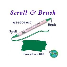 Zig Scroll & Brush Çift Çizgi ve Fırça Uçlu Kaligrafi Kalemi YEŞİL