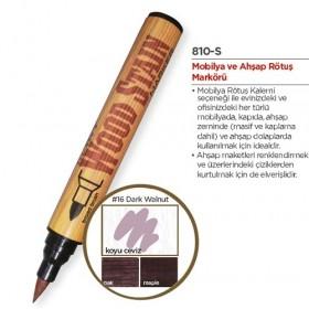 Marvy Ahşap Retöş Kalemi Fırça Uç Koyu Ceviz (Dark Walnut)