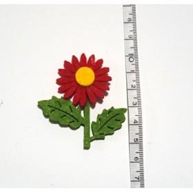 Kırmızı Ayçiçeği 2 Yapraklı 5cm Keçe Süs