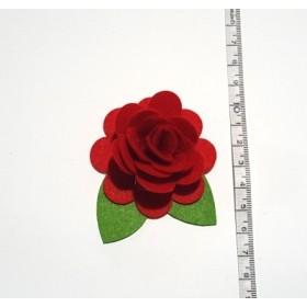Kırmızı Gonca Gül 6cm Keçe Süs