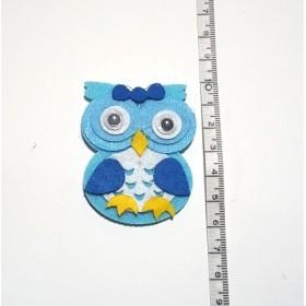Mavi Baykuş 6cm Keçe Süs