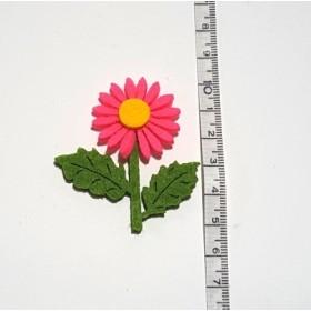 Pembe Ayçiçeği 2 Yapraklı  5cm Keçe Süs