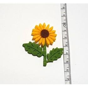 Sarı Ayçiçeği 2 Yapraklı 5cm Keçe Süs