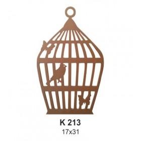 Kafeste Kelebek ve Kuş 17x31cm Ahşap Obje