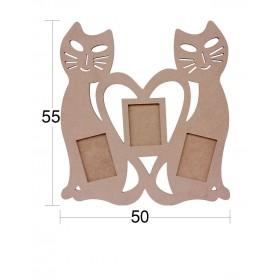 İki Kedili Aile Resim Çerçevesi