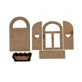 Lazer Kesim Tek Kapı-Pencere-Saksı Seti 6 Parçalı