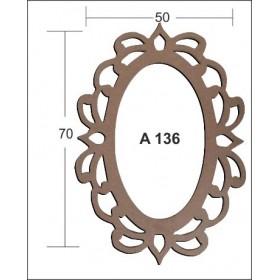 Oval İşlemeli CNC Aynalık 50x70cm
