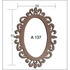 Oval Motif CNC Aynalık 50x70cm