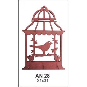 Kafeste Kelebek ve Kuş Anahtarlık Ahşap Obje AN28