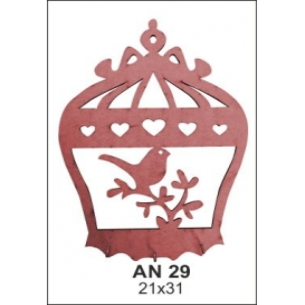 Kafeste Dalda Kuş Anahtarlık Ahşap Obje AN29