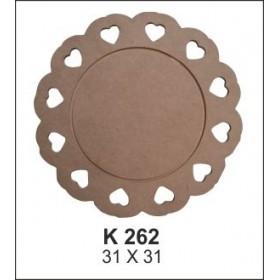 Kalp İşlemeli Supla(Servislik) Ahşap Obje K262