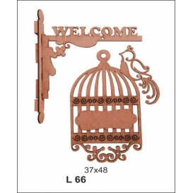 Welcome Kafeste Kuş Askılı Tabela Ahşap Obje