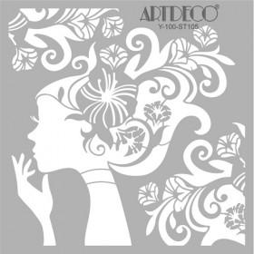 Artdeco Stencil Çiçek Kız 30x30cm -ST105