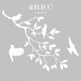 Artdeco Stencil Daldaki Kuşlar 30x30cm-ST106