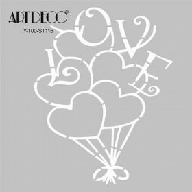 Artdeco Stencil Kalp Balon  30x30cm-ST116