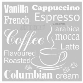 Artdeco Stencil Kahve Kelimeleri 30x30cm -ST115