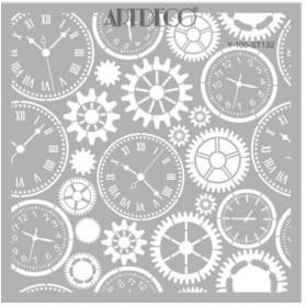 Artdeco Stencil Çarklar Saatler 30x30cm -ST132
