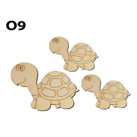 Lazer Kesim Ahşap Obje O9 Kaplumbağa 3'lü